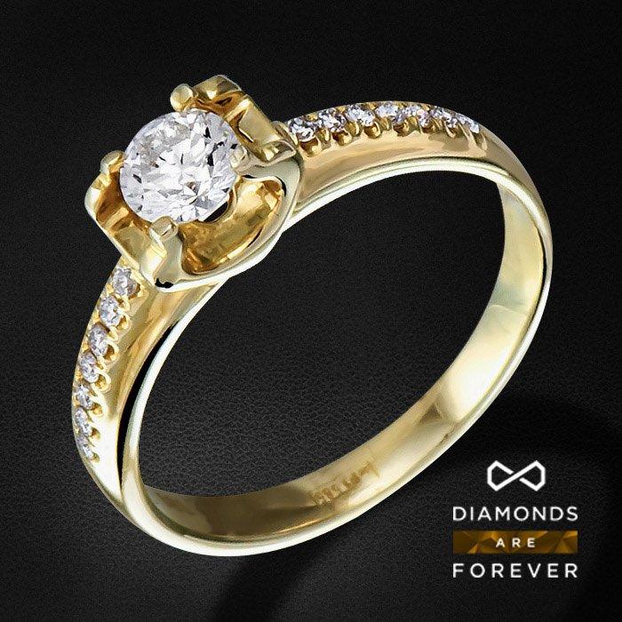 Кольцо с бриллиантами из желтого золота 585 пробыЮвелирные украшения<br>Кольцо с бриллиантами из желтого золота 585 пробы. Характеристики вставок: 14Бр Кр-57 0.08 3/5 А; 1Бр Кр-57 0.28 3/5 А. Средний вес: 2,12 гр.<br>