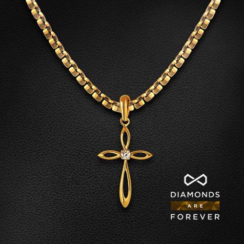 Крест с бриллиантами из желтого золота 750 пробыКулоны<br>Крест с бриллиантами из желтого золота 750 пробы. Характеристики вставок: бриллиант кр57 4/4-1-0.09ct;. Средний вес изделия: 3.27 гр.<br>