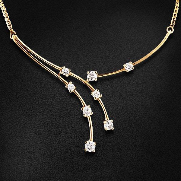 Колье с бриллиантами из желтого золота 585 пробыКолье<br>Колье с бриллиантами из желтого золота 585 пробы. Характеристики вставок: бриллиант кр57 3/5 - 8шт., вес 0.55. Средний вес изделия: 4,62 гр.<br>
