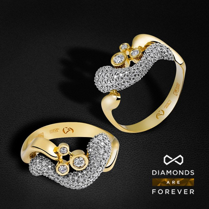 Кольцо золотое с 88 бриллиантами (коллекция Стихии)Кольца<br>Кольцо золотое с 88 бриллиантами. Характеристики вставок: 88 бриллиантов 0.5 карат. Средний вес: 4,39 гр.<br>