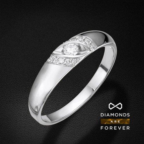 Кольцо с бриллиантами из белого золота 585 пробыКольца<br>Кольцо с бриллиантами из белого золота 585 пробы. Характеристики вставок: бриллиант 1 0.085 3/5 круг, бриллиант 10 0.066 3/5 круг. Средний вес изделия: 2,53 гр.<br>