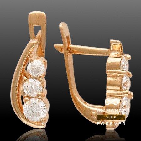 Серьги с бриллиантами из красного золота 585 пробыСерьги<br>Серьги с бриллиантами из красного золота 585 пробы. Характеристики: бриллиант 3/5 2шт.,0.07ct ; бриллиант 3/6 2шт.,0.13ct ; бриллиант 4/6 2шт.,0.24ct. Средний вес изделия: 3,31 гр.<br>