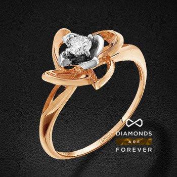 Кольцо с бриллиантами из красного золота 585 пробыКольца<br>Кольцо с бриллиантами из красного золота 585 пробы. Характеристики вставок: 1 бриллиант кр 57 6-5 4/5а 3.4-3.5 0.171ct.. Средний вес изделия: 2.5 гр.<br>