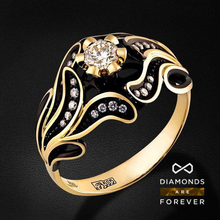 Кольцо с бриллиантами в желтом золотеКольца с бриллиантами<br>Кольцо с бриллиантами в желтом золоте 585 пробы. Характеристики: 27 бриллиант 0.373. Средний вес: 4.35 гр.<br>