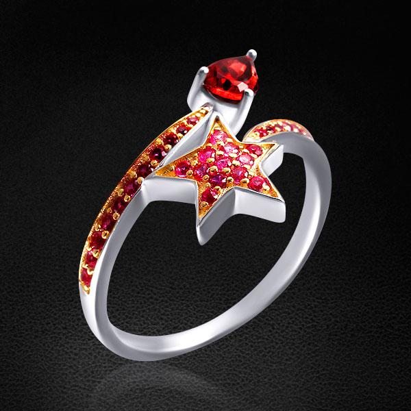 Кольцо Звезда из серебра 925 пробы с гранатами и фианитамиКольца<br>Кольцо из серебра 925 пробы с гранатами и фианитами. Средний вес: 2, 63 гр.<br>