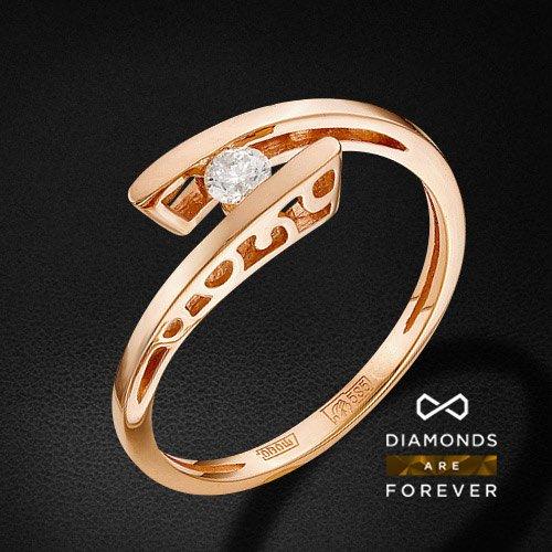 Кольцо с бриллиантами из красного золота 585 пробыКольца<br>Кольцо с бриллиантами из красного золота 585 пробы. Характеристики вставок: 1 бриллиант кр 57 7-6 3/5а 3.5-3.55 0.167ct.. Средний вес изделия: 2.84 гр.<br>