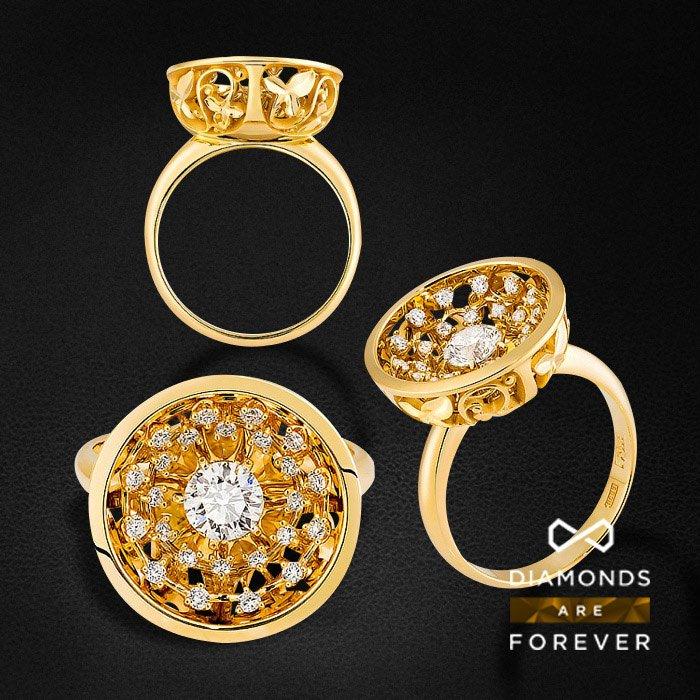 Кольцо с бриллиантами в желтом золоте 585 пробыКольца<br>Кольцо с бриллиантами в желтом золоте 585 пробы. Характеристики вставок: 25 бриллиантов 0.76. Средний вес: 7,79 гр.<br>