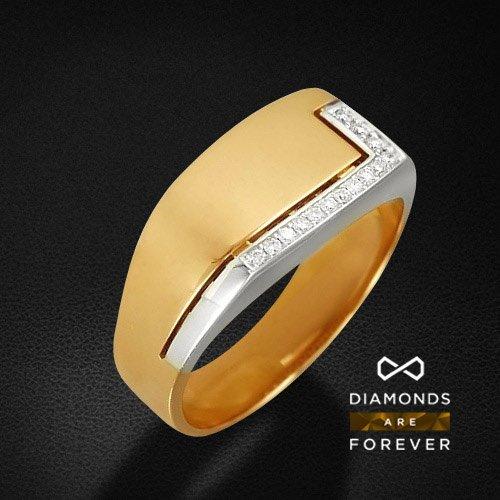 Мужское кольцо с бриллиантами из комбинированного золота 585 пробыДля мужчин<br>Мужское кольцо с бриллиантами из комбинированного золота 585 пробы. Характеристики вставок: бриллиант 57кр 4-0.031ct 5/5а, бриллиант 57кр 10-0.050ct 5/5а. Средний вес изделия: 6,8 гр.<br>