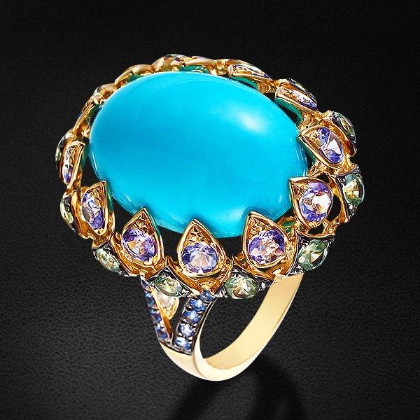 Кольцо с бирюзой, бриллиантами, танзанитами, сапфиром фантазийным из желтого золота 585 пробы  - купить со скидкой