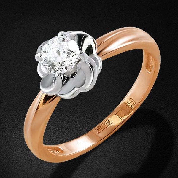 Кольцо с бриллиантами из красного золота 585 пробыКольца<br>Кольцо с бриллиантами из красного золота 585 пробы. Характеристики вставок: 1 бриллиант кр57 0,341 6/5а. Средний вес изделия: 3,32 гр.<br>