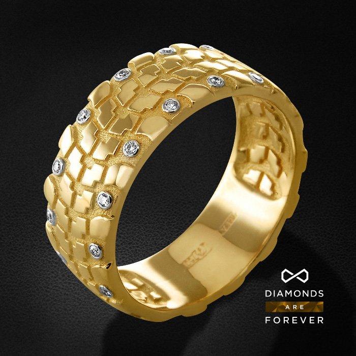Мужское кольцо с бриллиантами из желтого золота 750 пробыПерстни<br>Мужское кольцо с бриллиантами из желтого золота 750 пробы. Характеристики вставок: 30 бриллиант кр57 0.182. Средний вес изделия: 7.33 гр.<br>