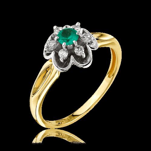 Купить Кольцо с изумрудом, бриллиантами из желтого золота 585 пробы