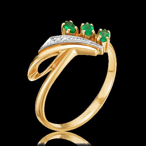 3f7c7119790b Кольцо с изумрудом, бриллиантами из комбинированного золота 585 пробы (арт.  48156)
