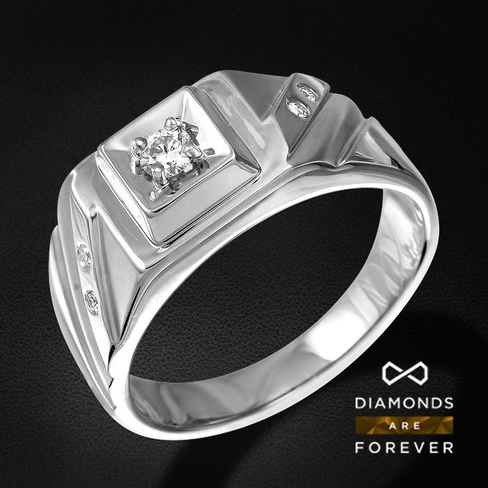 Мужское кольцо с бриллиантами из белого золота 585 пробыДля мужчин<br>Мужское кольцо с бриллиантами из белого золота 585 пробы. Характеристики вставок: 4Бр Кр-57 0.053/5 А; 1Бр Кр-57 0.573/7 А. Средний вес: 6,97 гр.<br>