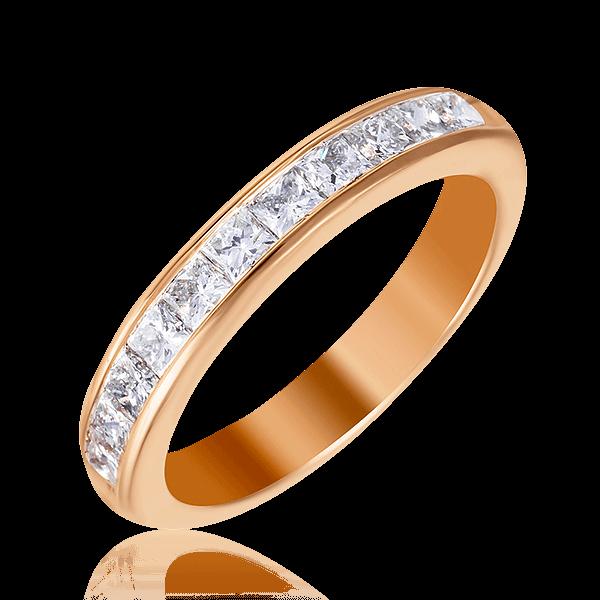 Купить Кольцо дорожка с 11 бриллиантами огранки принцесса из красного золота 585 пробы