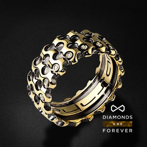 Мужское кольцо с 17 бриллиантами из желтого золота 585 пробыДля мужчин<br>Мужское кольцо с 17 бриллиантами из желтого золота 585 пробы. Характеристики вставок: 17 бриллиантов 0.135 карат. Средний вес: 12,02 гр.<br>