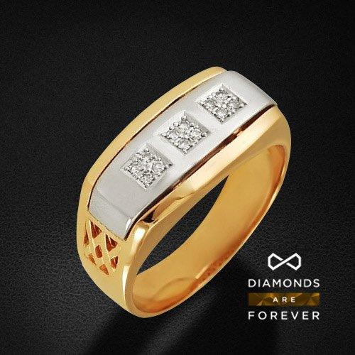 Мужское кольцо с бриллиантами из комбинированного золота 585 пробыДля мужчин<br>Мужское кольцо с бриллиантами из комбинированного золота 585 пробы. Характеристики вставок: бриллиант 57кр 12-0.095ct 4/5а. Средний вес изделия: 7,09 гр.<br>