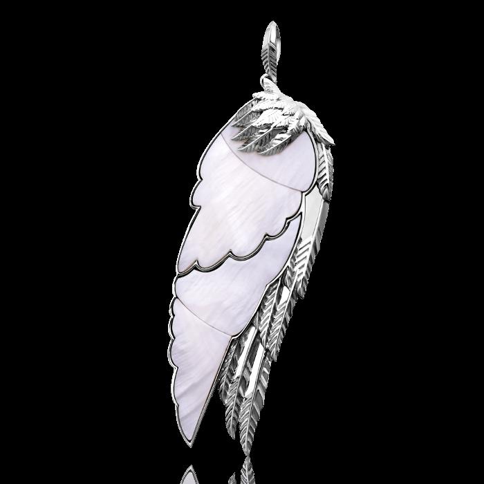 Купить Кулон Крылья с перламутром из белого золота 585 пробы