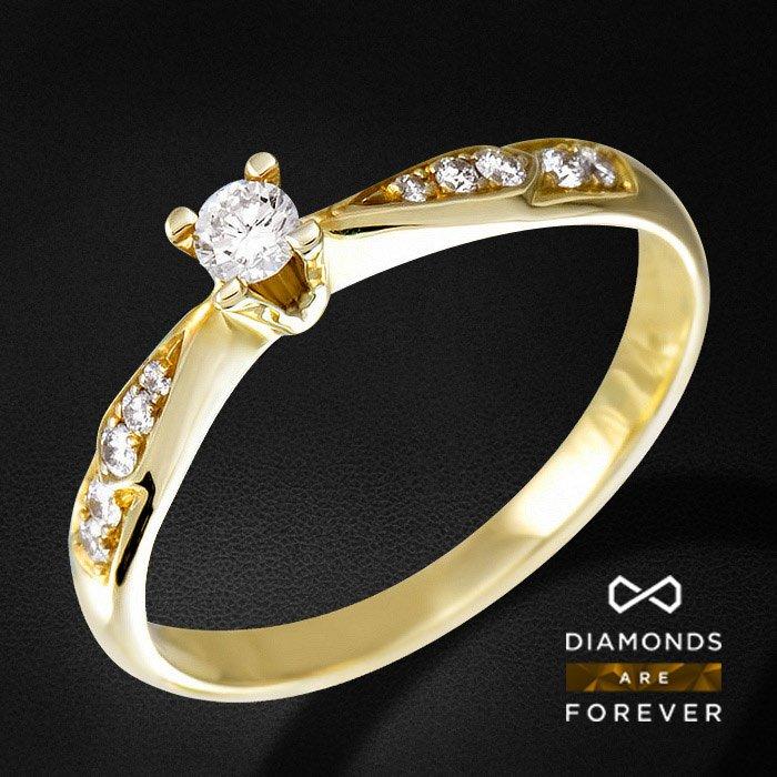 Кольцо с бриллиантами из желтого золота 585 пробыЮвелирные украшения<br>Кольцо с бриллиантами из желтого золота 585 пробы. Характеристики вставок: 10Бр Кр-57 0.10 3/4 А; 1Бр Кр-57 0.09 4/4 А. Средний вес: 2,4 гр.<br>