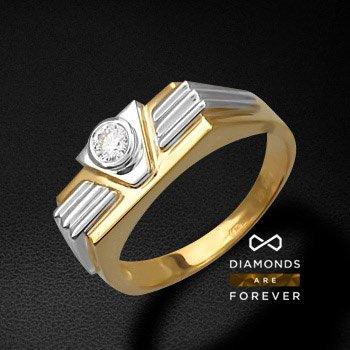 Мужской перстень с бриллиантами из комбинированного золота 750 пробыДля мужчин<br>Кольцо из комбинированного золота 750 пробы. Характеристики вставок: бриллиант  5/4  1шт.,0.3ct. Средний вес: 10,49 гр. Производство: Россия<br>