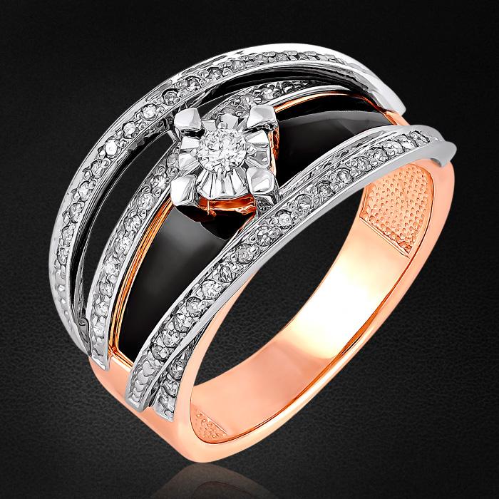 Кольцо с бриллиантами из красного золота 585 пробыКольца<br>Кольцо с бриллиантами из красного золота 585 пробы. Характеристики вставок: 1 бриллиант кр57 0,061 3/6а; 68 бриллиант кр17 0,252 2/2а. Средний вес изделия: 5,48 гр.<br>
