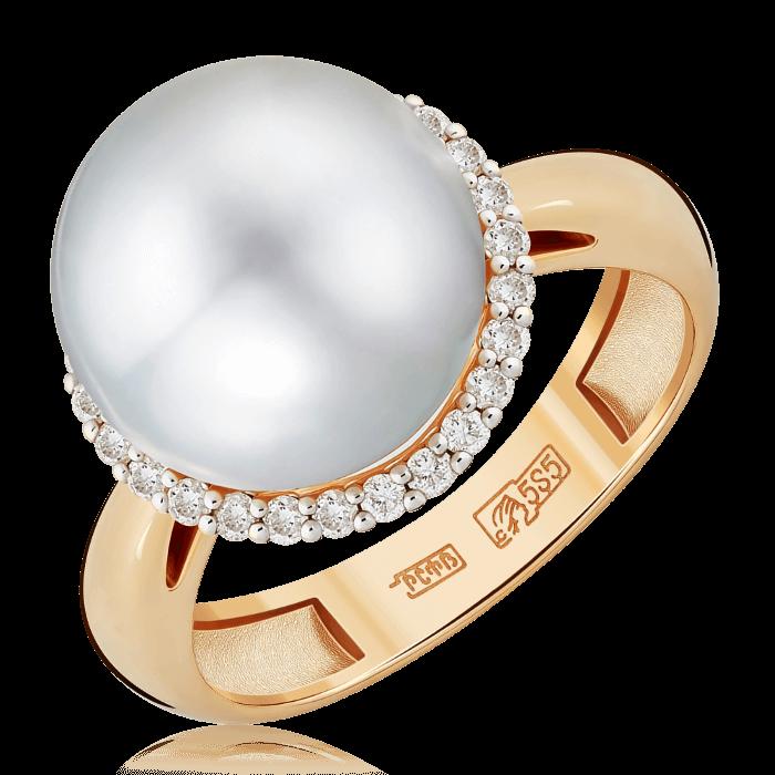 Купить Кольцо с жемчугом и бриллиантами из комбинированного золота 585 пробы