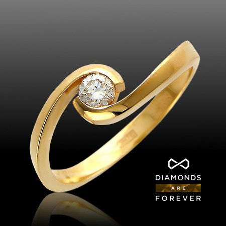 Кольцо с 1 бриллиантом из красного золота 585 пробыКольца<br>Кольцо с 1 бриллиантом из красного золота 585 пробы. Характеристики вставок: бриллиант кр-57 3/3 1шт.,0.21ct. Средний вес изделия: 3 гр.<br>