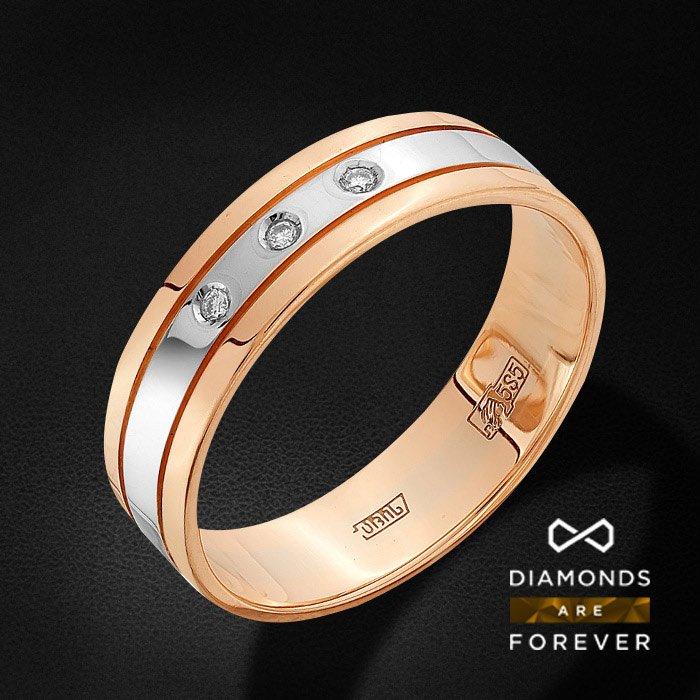 Обручальное кольцо с бриллиантами из красного золота 585 пробыКольца<br>Обручальное кольцо с бриллиантами из красного золота 585 пробы. Характеристики вставок: 3 бриллиант кр 57 4/5а 0.019ct.. Средний вес изделия: 2.75 гр.<br>