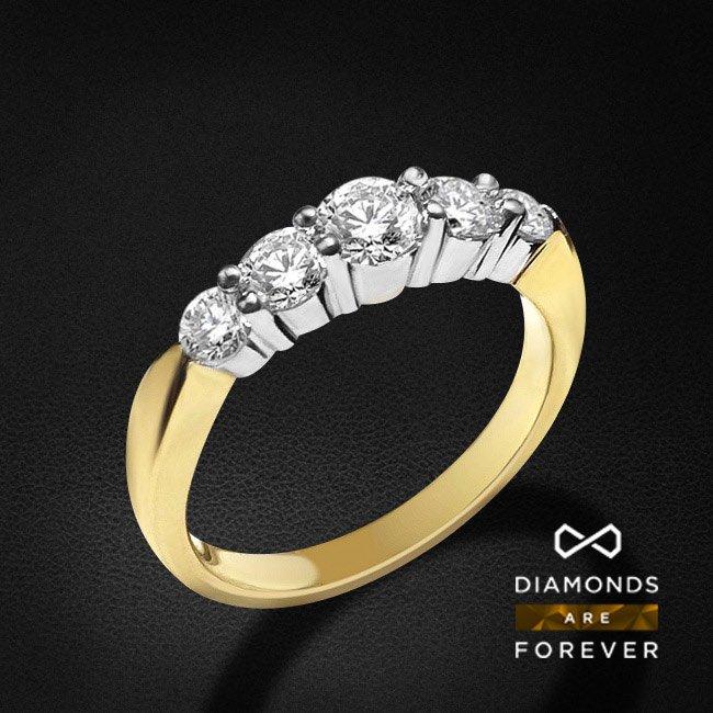 Кольцо для помолвки с 5 бриллиантами в желтом золоте 585 пробыЮвелирные украшения<br>Кольцо для помолвки с 5 бриллиантами в желтом золоте 585 пробы. Характеристики вставок: 1 бриллиант 0.26 5/5А, 2 бриллианта 0.33 5/5А, 2 бриллианта 0.21 5/5А. Средний вес: 3.65 гр.<br>