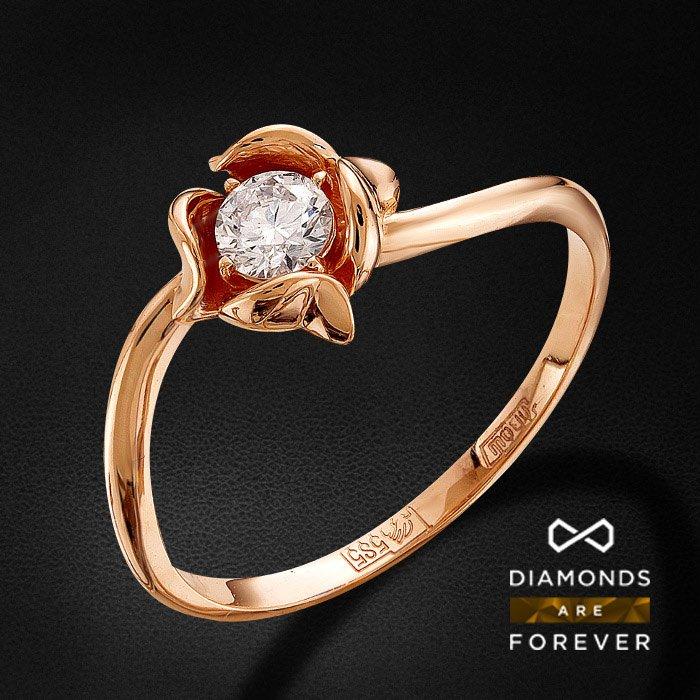 Кольцо с бриллиантами из красного золота 585 пробыКольца<br>Кольцо с бриллиантами из красного золота 585 пробы. Характеристики вставок: 1 бриллиант кр 57 4/5а 0.2ct.. Средний вес изделия: 2.07 гр.<br>