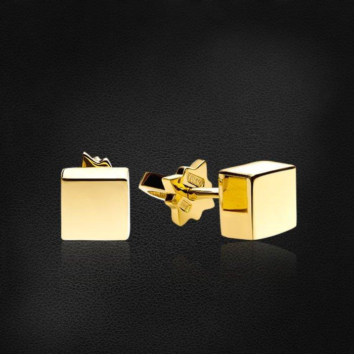Геометрические серьги пусеты Cube из желтого золота 585 пробыСерьги<br>Геометрические серьги пусеты Cube из желтого золота 585 пробы. Средний вес изделия: 2,55 гр.<br>