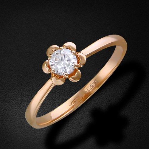 Кольцо с фианитами из красного золота 585 пробыКольца<br>Кольцо с фианитами из красного золота 585 пробы. Характеристики вставок: фианит круг  1шт.,0.37ct. Средний вес изделия: 2 гр.<br>