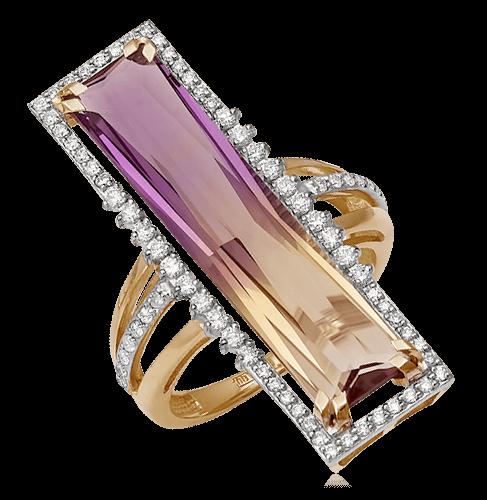 Купить Кольцо с аметрином, бриллиантами из красного золота 585 пробы