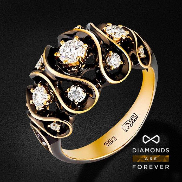 Кольцо с бриллиантами в желтом золотеКольца с бриллиантами<br>Кольцо с бриллиантами в желтом золоте 585 пробы. Характеристики: 11 бриллиант 0.75. Средний вес: 5.8 гр.<br>