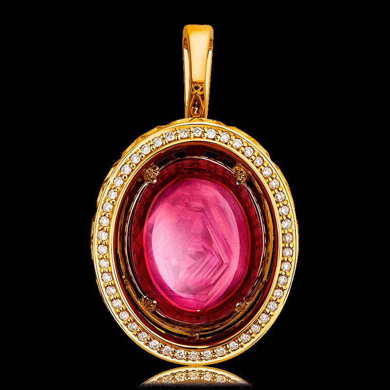 Купить Кулон с рубином, бриллиантами из комбинированного золота 585 пробы