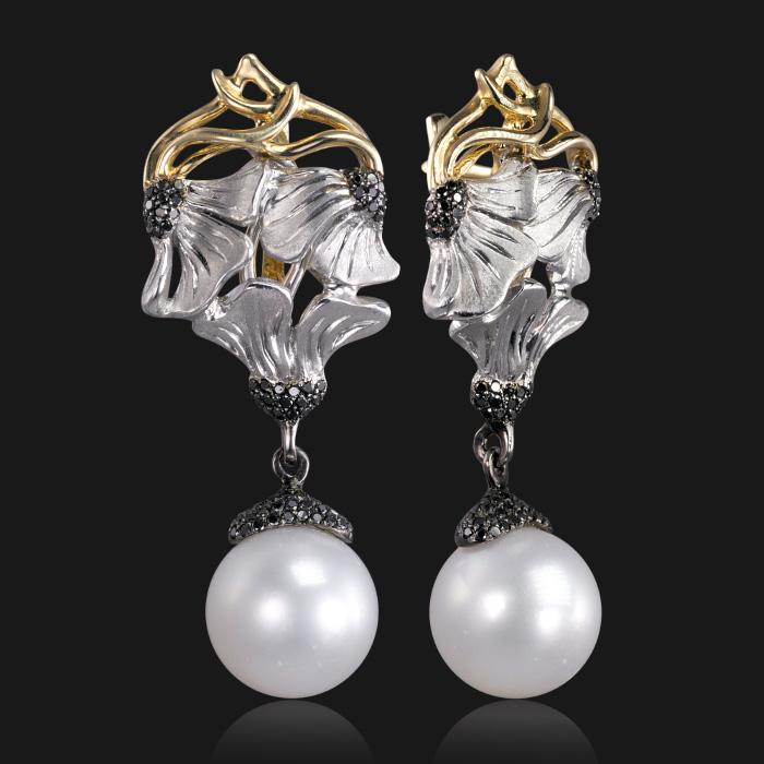 Купить Серьги с жемчугом и черными бриллиантами из комбинированного золота 585 пробы