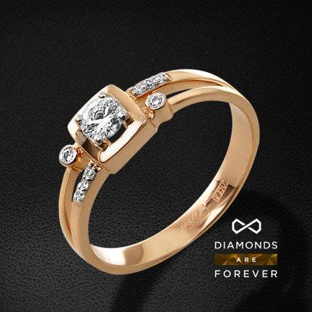 Кольцо с бриллиантами из красного золота 585 пробыКольца с бриллиантами<br>Кольцо с бриллиантами из красного золота 585 пробы. Характеристики вставок: 1 бриллиант кр57 0,235; 8 бриллиант кр57 0,05. Средний вес изделия: 3.05 гр.<br>