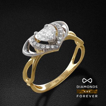 Кольцо с бриллиантами из желтого золота 750 пробыКольца с бриллиантами<br>Кольцо с бриллиантами из желтого золота 750 пробы. Характеристики вставок: 1 бриллиант сердце 57 0.73; 15 бриллиант кр57 0.084. Средний вес изделия: 3.26 гр.<br>