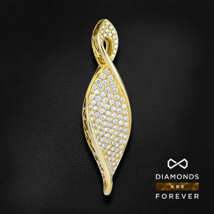 Кулон с бриллиантами из желтого золота 585 пробыКулоны<br>Кулон с бриллиантами из желтого золота 585 пробы. Характеристики вставок: 107 бриллиант кр57 1.72 3/5 а. Средний вес изделия: 5,57 гр.<br>