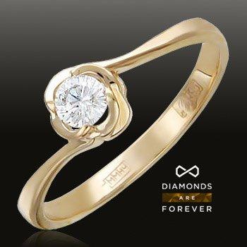Помолвочное кольцо с бриллиантом из красного золота 585 пробыЮвелирные украшения<br>Кольцо с бриллиантами из красного золота 585 пробы. Характеристики вставок: бриллиант 2/5 1шт.,0.14ct. Средний вес изделия: 1,51 гр.<br>