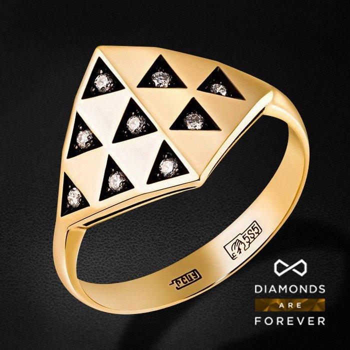 Кольцо с бриллиантами в желтом золотеКольца с бриллиантами<br>Кольцо с бриллиантами в желтом золоте 585 пробы. Характеристики: 9 бриллиант 0.1. Средний вес: 3.52 гр.<br>
