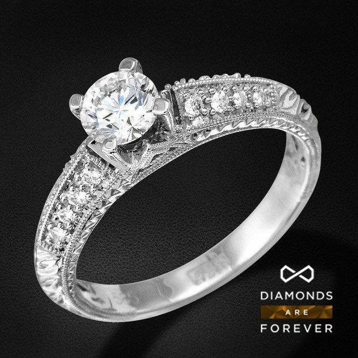 Помолвочное кольцо с бриллиантами из белого золота 585 пробыКольца<br>Помолвочное кольцо с бриллиантами из белого золота 585 пробы. Характеристики вставок: 16Бр Кр-57 0.13 3/5 А, 1Бр Кр-57 0.7 5/7 А. Средний вес: 3,57 гр.<br>