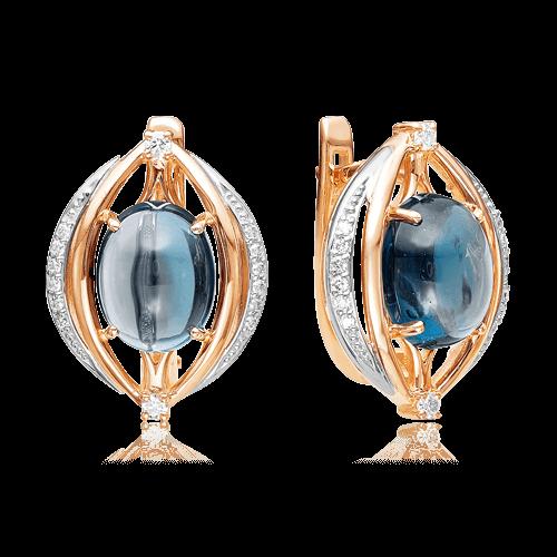 Купить Серьги с лондон топазом, бриллиантами из комбинированного золота 585 пробы