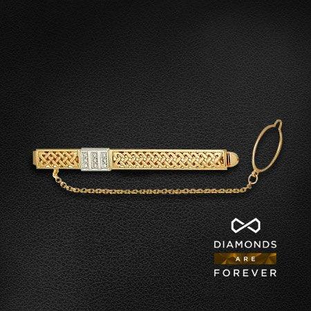 Зажим для галстука с бриллиантами из комбинированного золота 585 пробыДля мужчин<br>Зажим для галстука с бриллиантами из комбинированного золота 585 пробы. Характеристики вставок: бриллиант 57кр 9-0.081ct 5/5а. Средний вес изделия: 5,96 гр.<br>