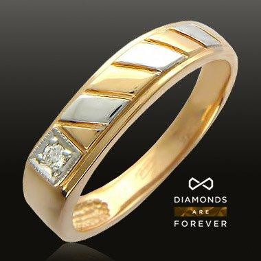 Купить Печатка с бриллиантами из красного золота 585 пробы
