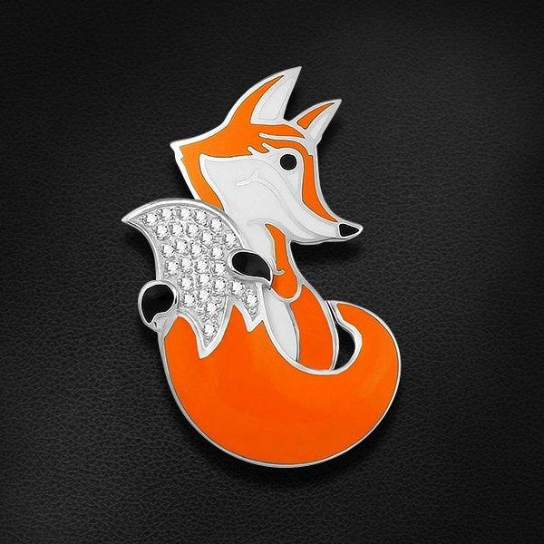 Купить Подвеска в виде лисички с фианитами и эмалью из серебра