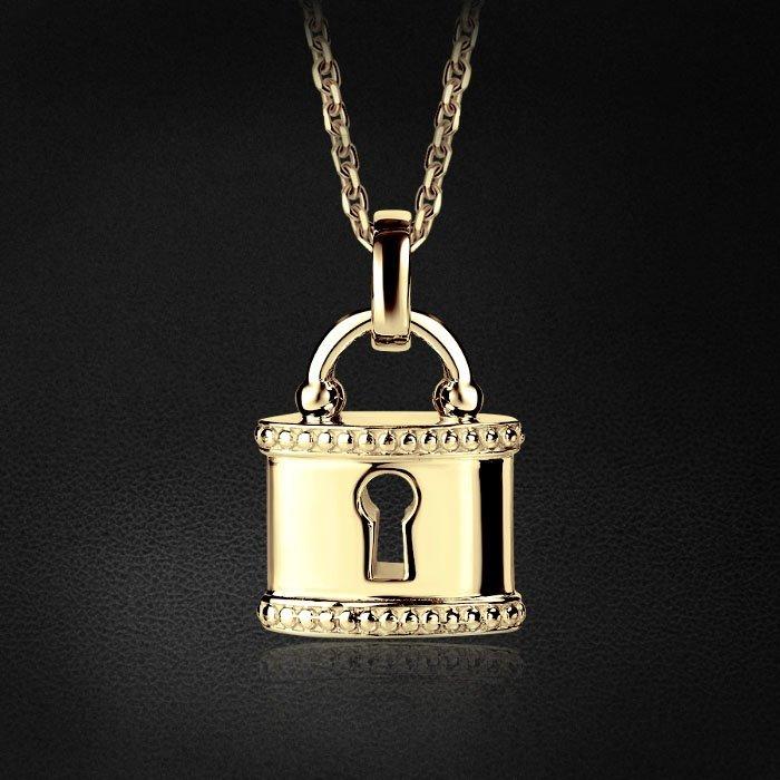 Кулон в виде замочка из желтого золота 585 пробыКулоны<br>Символичная подвеска из желтого золота станет идеальным романтическим подарком и универсальным украшением. Средний вес: 3,55 гр.<br>