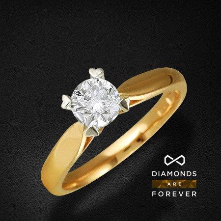 Кольцо с бриллиантами из комбинированного золота 585 пробыКольца<br>Кольцо с бриллиантами из комбинированного золота 585 пробы. Характеристики вставок: бриллиант 57кр 1-0.34ct 3/5а. Средний вес изделия: 2,81 гр.<br>