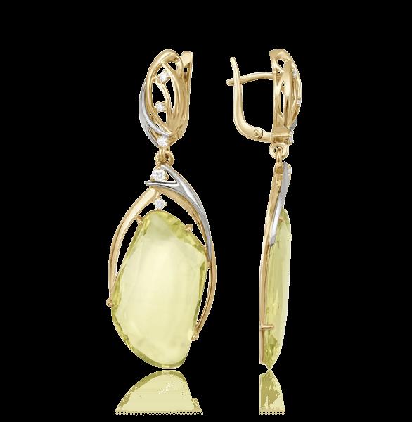 Серьги с кварцем, бриллиантами из желтого золота 585 пробы