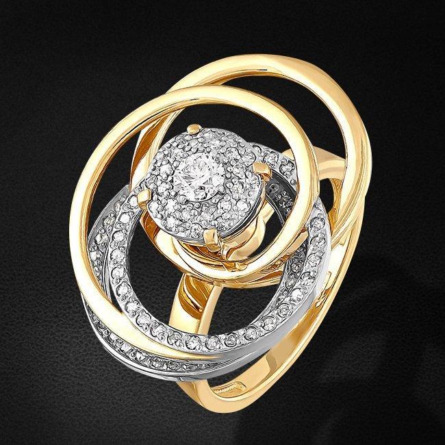 Кольцо с бриллиантами из желтого золота 585 пробыКольца<br>Кольцо с бриллиантами из желтого золота 585 пробы. Характеристики вставок: 1 бриллиант кр57 0,083 3/5а, 79 бриллиант кр17 0,293 2/3а. Средний вес изделия: 6,96 гр.<br>